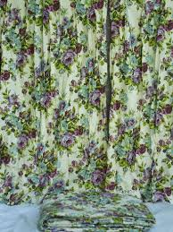 Retro Floral Curtains 70s Vintage Floral Print Bedspread And Curtains Retro Blue And