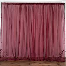 Magenta Curtain Panels 10 Feet X 10 Feet Burgundy Sheer Voile Backdrop Drapes Curtains