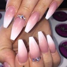 beautiful set of pink and white fade nails using tammy taylor