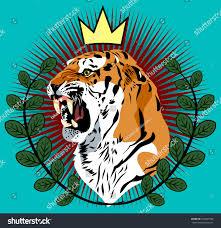 portrait tiger crown laurel branches old stock vector 632847998
