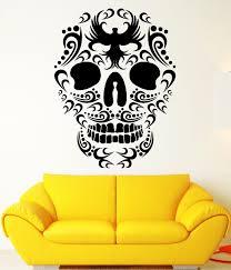 wall decals stickers home decor home furniture diy wall stickers death skull bird patterns art mural vinyl decal ig1978