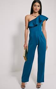 teal jumpsuit kerry teal one shoulder frill jumpsuit dresses