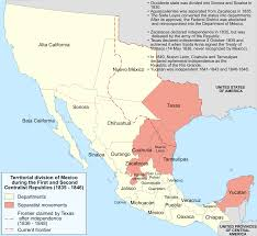 United States And Mexico Map by Mexican Cession