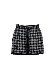tweed skirt chanel black silver metallic tweed skirt sz 2 current boutique