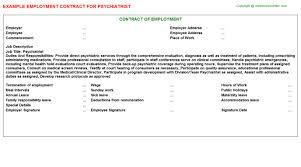 Psychiatrist Resume Psychiatrist Employment Contract