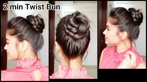 2 min twist bun everyday easy hairstyles for medium to long hair