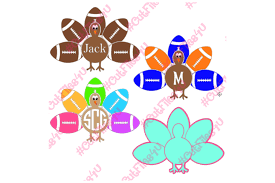 boy monogram name football thanksgiving turkey design svg
