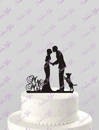 wedding cake topper silhouette groom and bride with dog mr u0026 mrs