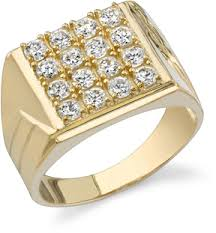 men gold rings men s square cz ring 14k yellow gold