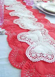 valentines day table runner s day table runner with paper doilies could do this