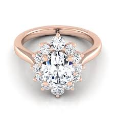 rose design rings images Oval diamond halo floral design ring in 14k rose gold 1 2 ct tw jpg