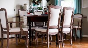 DIY Linen Dining Room Chairs For  A Piece - Reupholstered dining room chairs