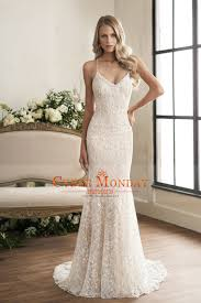 spaghetti wedding dress 2018 open back spaghetti straps lace mermaid wedding dresses