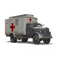opel truck ww2 opel blitz 3t ambulance truck 11 pzdiv 3d model cgstudio