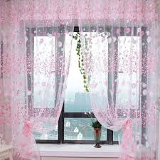 Pink Sparkle Curtains Pandada Floral Sheer Voile Curtain Drape Panel Tulle