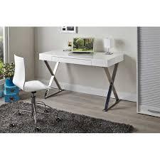 bureaux blanc laqué secrétaire bureau design en mdf coloris blanc laqué et métal chro