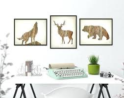 deer antler home decor deer wolf bear wall art print set of 3 wood hunting lodge like this
