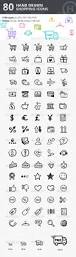 80 hand drawn shopping u0026 commerce icons icon design design