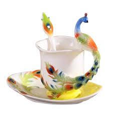 online shop peacock coffee mug colored enamel copo ceramic tea