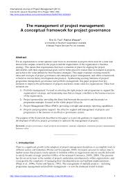 the management of project management a conceptual framework for the management of project management a conceptual framework for project governance pdf download available