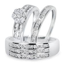 wedding rings set 1 1 2 ct t w diamond trio matching wedding ring set 10k white gold
