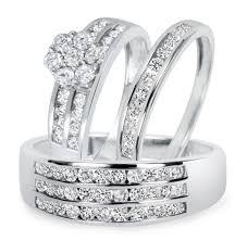 wedding rings set 1 1 2 ct t w diamond trio matching wedding ring set 10k white gold