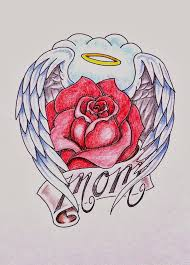 lovely rose cover with angel wings and mom banner tattoo tattoos