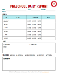 Daily Report Sheet Template Preschool Daily Report 1 Per Page Infant Toddler Preschool
