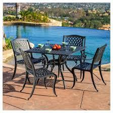 hallandale 5pc cast aluminum square patio dining set black