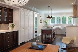 gray kitchen cabinets with white crown molding seattle farrow and lotus wallpaper traditional kitchen