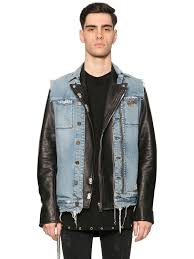 leather biker vest rta denim vest u0026 leather biker jacket black blue men clothing
