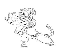 kung fu panda bold tiger colouring picolour