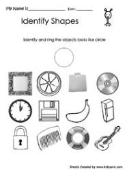 worksheet for class 1 to ring square like object printable