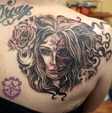 half half skull tatoos half skull