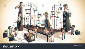 cartoon children alchemist scientists kid experimenting stock