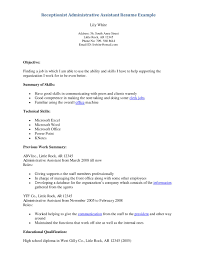 Resume For Medical Secretary Sample Resume Objectives Medical Receptionist