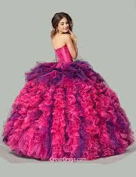 fuchsia quinceanera dresses fuchsia and purple organza beaded strapless sweetheart