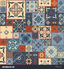 tile pattern retro blueorangeredbeige style moroccan stock vector