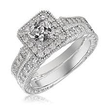 silver diamond rings sterling silver engagement wedding ring set princess