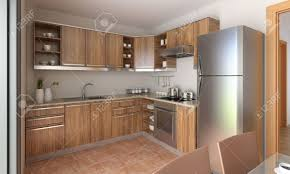 interior design of a modern kitchen in tan and wood this is