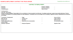 truck driver employment contract