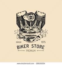 vector vintage motorcycle repair logo engine stock vector