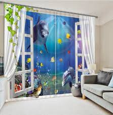 online cheap palm tree window curtain 3d curtains for living room