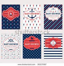 nautical baby shower cards sea theme stock vector 393175507