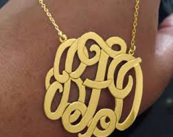 gold plated monogram necklace gold monogram necklace etsy