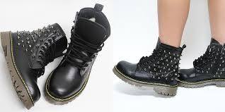 womens combat boots uk womens black studded spike zip combat boots us 6 11