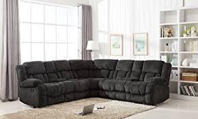 amazon com classic large linen fabric l shape sectional recliner