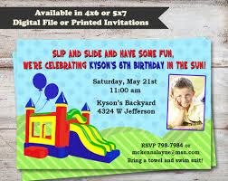 bounce house water slide birthday invitation pink mckenna