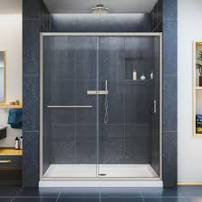 brushed nickel bypass sliding shower doors showers the