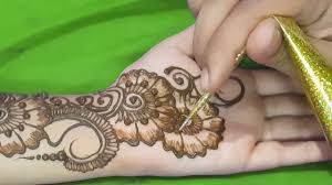 new easy and simple floral arabic henna design for hands step by